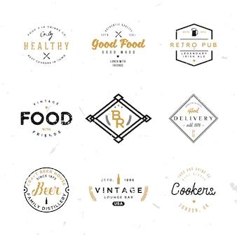 Modelos de emblemas vintage retrô para projetos de marca no tema de comida