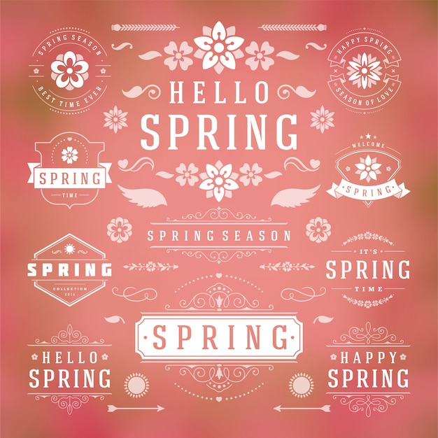 Modelos de estilo de etiquetas e emblemas de tipografia de primavera.