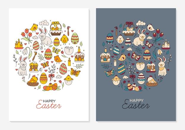 Modelos de feliz páscoa para cartões comemorativos, cartazes e convites