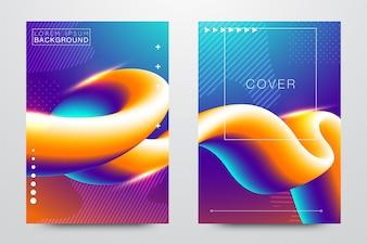 Modelos de fluido abstratos criativos, cartões, conjunto de capas de cor