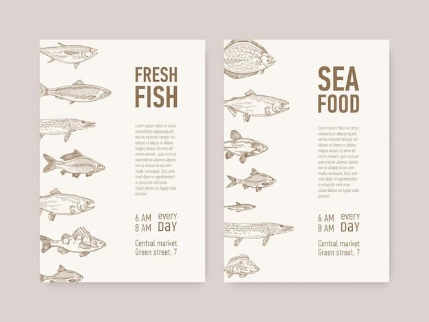 Modelos de flyer com peixes e frutos do mar