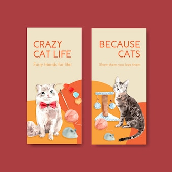 Modelos de folheto com gatos fofos