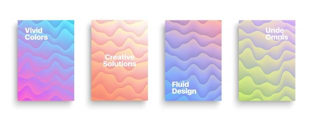 Modelos de folheto de vetor design fluido