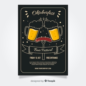 Modelos de folheto design plano oktoberfest