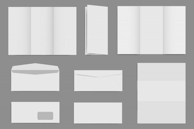 Modelos de folheto e envelope em branco, imagem de maquete