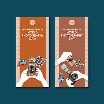 Modelos de folheto para o dia mundial da fotografia