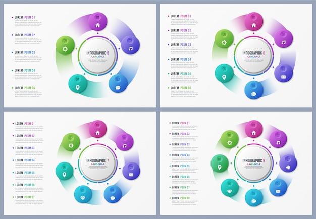 Modelos de gráfico de círculo rotativo com opções.