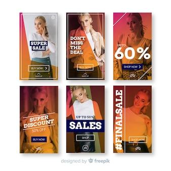 Modelos de histórias de instagram de venda de moda
