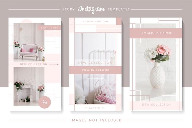 Modelos de histórias de instagram rosa elegante.