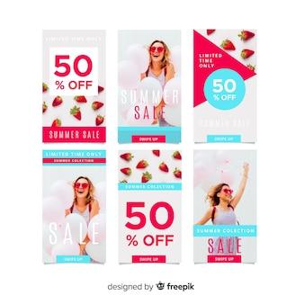 Modelos de histórias do instagram de venda de verão