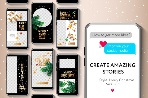 Modelos de histórias editáveis do instagram, feliz natal e feliz ano novo