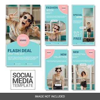 Modelos de histórias moda social media banner