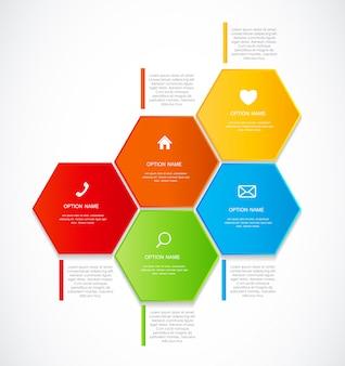Modelos de infográfico com cinco opções