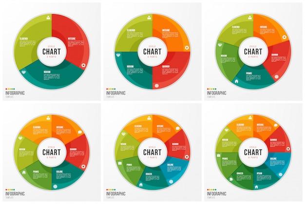 Modelos de infográfico de gráfico de ciclo