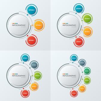 Modelos de infográfico de gráfico de círculo com opções para presenta