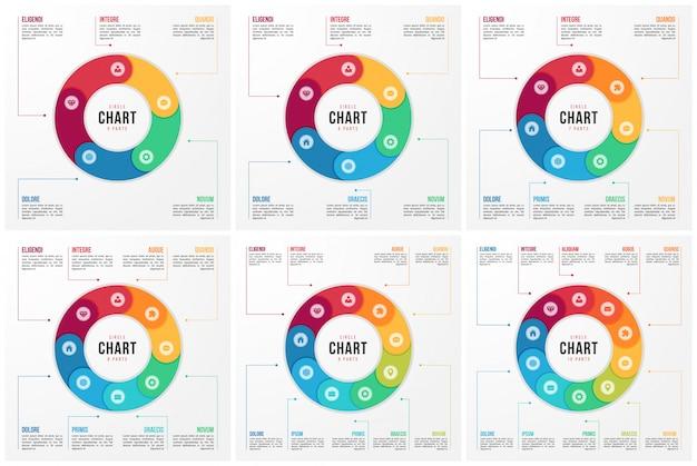 Modelos de infográfico de gráfico de círculo