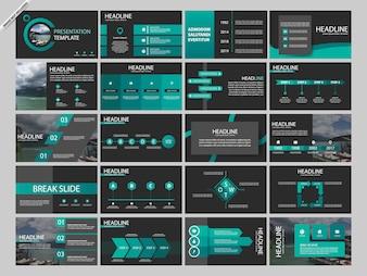 Modelos de infográfico de presentaion pacote verde