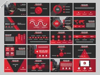 Modelos de infográfico de presentaion pacote vermelho