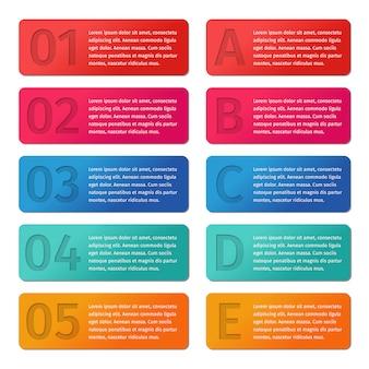 Modelos de infográfico de setas 5 e opções de ea,