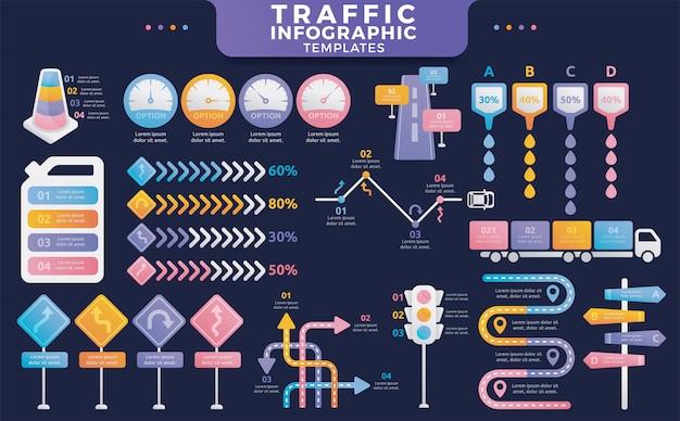 Modelos de infográfico de tráfego colorido