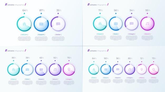 Modelos de infográfico editáveis modernos de vetor com diagramas de porcentagem para a criação de apresentações, relatórios e visualizações.