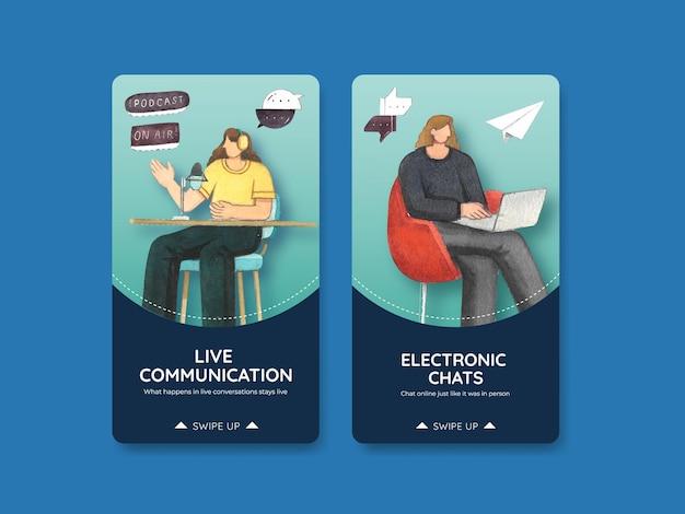 Modelos de instagram definidos com conceito de conversa ao vivo