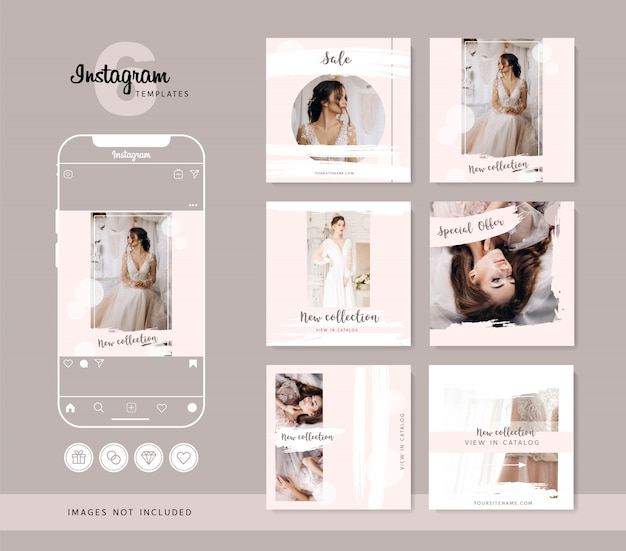 Modelos de instagram rosa elegantes. destaques ícones