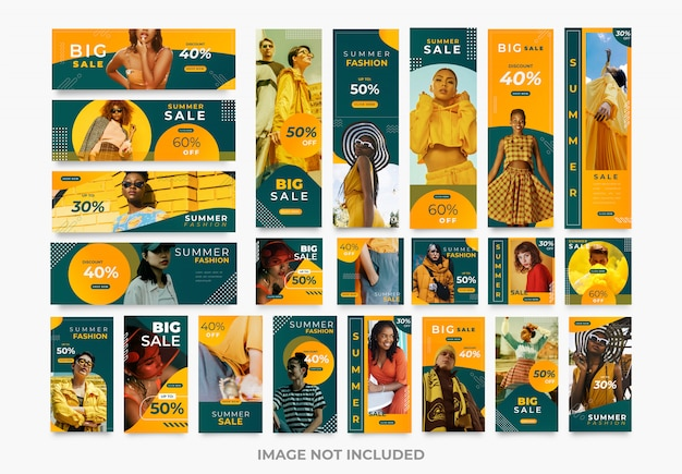 Modelos de kit de moda de mídia social