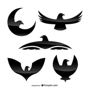 Modelos de logotipo águia com textura de cristal