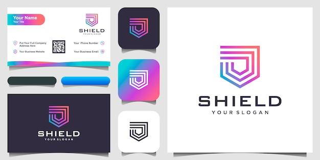 Modelos de logotipo conceito escudo criativo. e cartão de visita