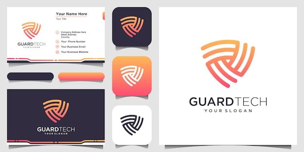 Modelos de logotipo conceito escudo criativo. logotipo e cartão de visita