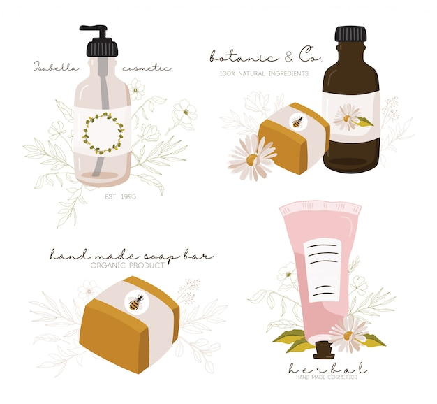 Modelos de logotipo cosméticos.