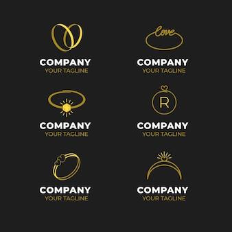Modelos de logotipo de anel de design plano criativo