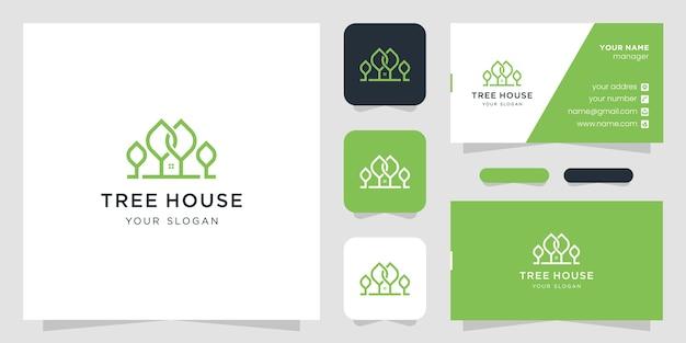 Modelos de logotipo de árvore doméstica e cartão de visita