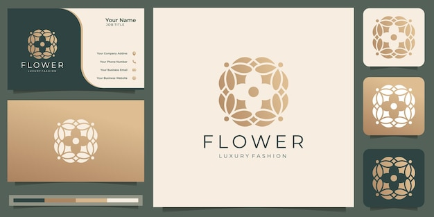 Modelos de logotipo de beleza rosa flor de luxo e vetor premium de design de cartão de visita
