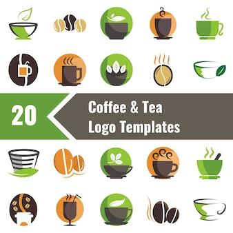 Modelos de logotipo de café e chá