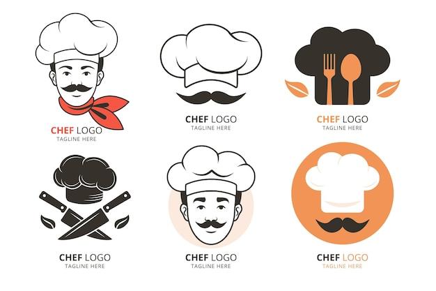 Modelos de logotipo de chef de design plano