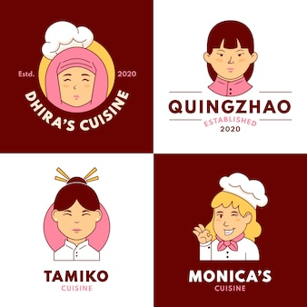 Modelos de logotipo de chef feminina plana