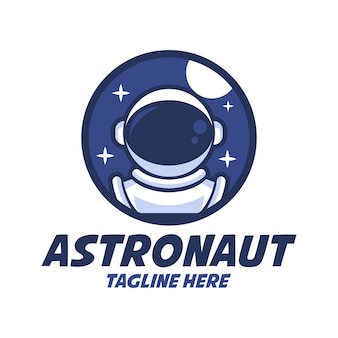 Modelos de logotipo de desenho animado de astronauta