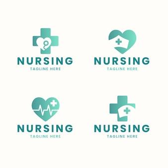 Modelos de logotipo de enfermeira de design plano