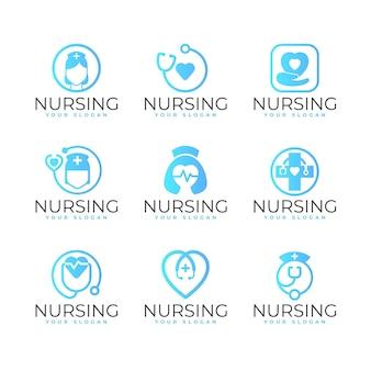 Modelos de logotipo de enfermeira de gradiente