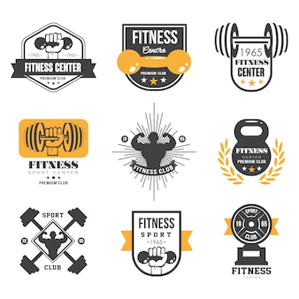 Modelos de logotipo de esporte e fitness, logotipos de academia, etiquetas atléticas