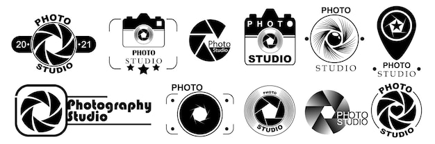 Modelos de logotipo de fotografia, isolados no fundo branco. conjunto de logotipos de fotos. projetos de logotipo de estilo moderno. ilustração vetorial