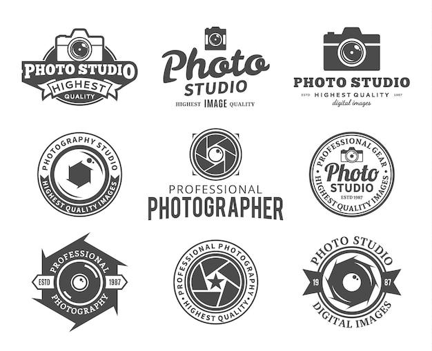 Modelos de logotipo de fotografia. logotipo do estúdio fotográfico.