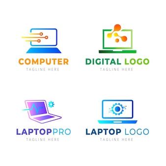 Modelos de logotipo de laptop gradiente