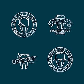 Modelos de logotipo de linha de clínica dentária