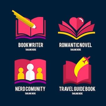 Modelos de logotipo de livro plano