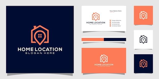 Modelos de logotipo de localização de casa e design de cartão de visita