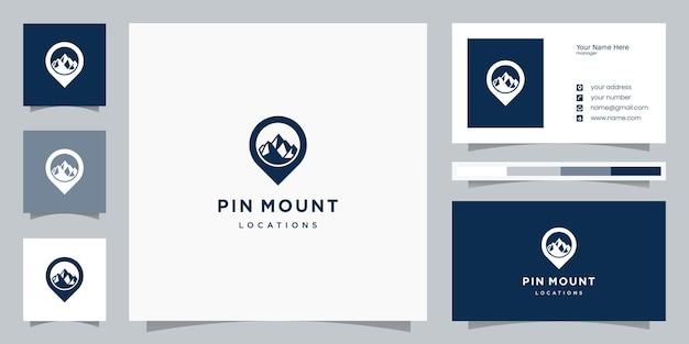 Modelos de logotipo de localização de montanha e design de cartão de visita