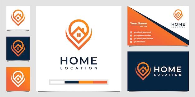 Modelos de logotipo de localização residencial. com estilo de arte de linha e design de cartão de visita